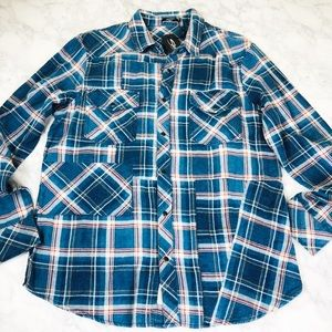 Silver Jeans Co. Western Plaid Shirt